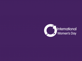 Purple background with International Women's Day logo in white.