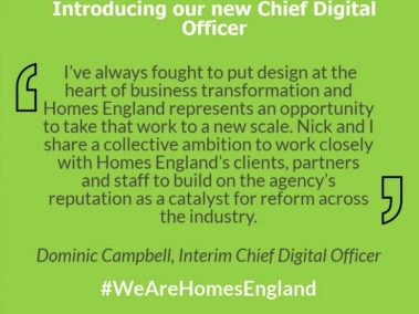 Homes England Chief Digital Officer Announcement Statement