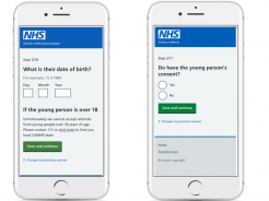 Screenshot of mobile prototypes for an NHS app