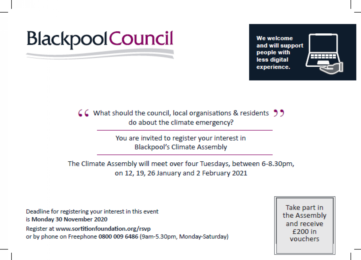 The invite to residents for the climate assembly in Blackpool.