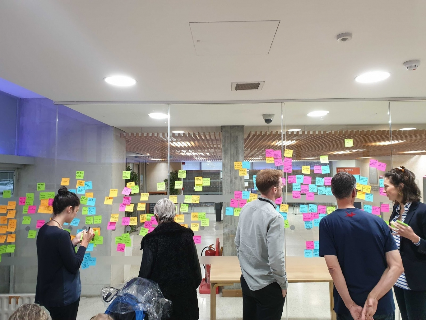 Five people gather around a wall of post-it notes.